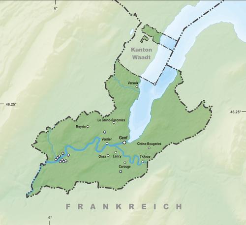 Reliefkarte Genfer Seen