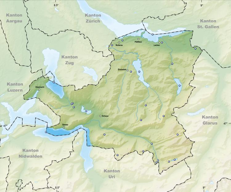Reliefkarte Schwyzer Seen