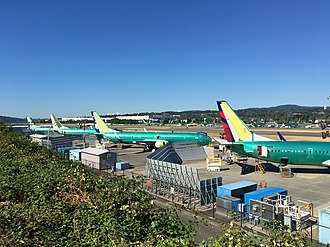 Renton Municipal Airport - View of brand new 737s being outfitted on the west side of Renton.
