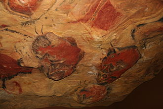 Spain - Reproduction of Altamira Cave paintings, in Cantabria