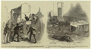 New Orleans riot - The riot in New Orleans – murdering negroes in the rear of Mechanics' Institute ; Platform in Mechanics' Institute after the riot, Harper's Weekly, 1866
