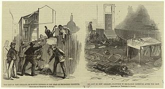 New Orleans massacre of 1866 - The massacre in New Orleans – murdering negroes in the rear of Mechanics' Institute ; Platform in Mechanics' Institute after the riot, Harper's Weekly, 1866