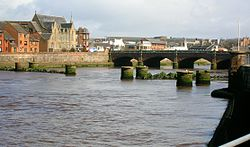 River Ayr and old railway bridge to the harbour.JPG