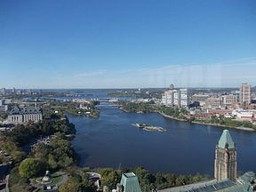 River Ottawa (view from the Peace Tower of Parliament Centre Block).JPG
