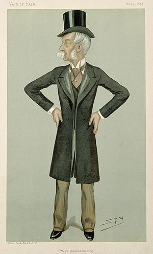 """Robert Farquharson (politician) - """"West Aberdeenshire"""" Farquharson as caricatured by Spy (Leslie Ward) in Vanity Fair, May 1895"""