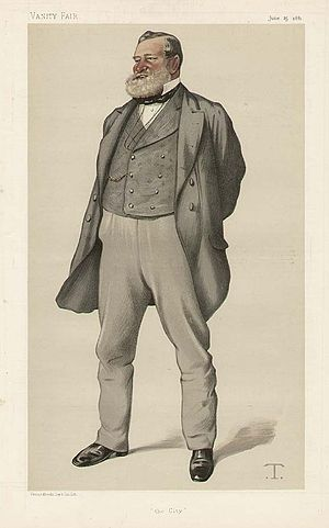 "Sir Robert Fowler, 1st Baronet - ""The City"" Fowler as caricatured by Théobald Chartran in Vanity Fair, June 1881"