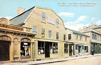 "Roger Williams - Roger Williams House (or ""The Witch House"") in Salem c. 1910"