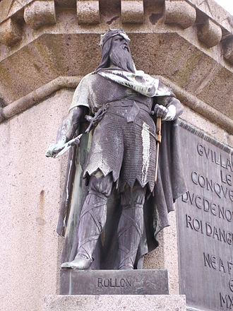 Duchy of Normandy - Statue of Rollo, founder of the fiefdom of Normandy, standing in Falaise, Calvados, birthplace of his descendant William the Conqueror, the Duke of Normandy who became King of England.