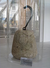 The Eschborn Museums 2nd Century Stone Weight Of 40 Roman Pounds 13 Kg Beside An Id 1 Sized Card For Scale