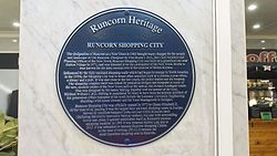 Runcorn shopping city plaque