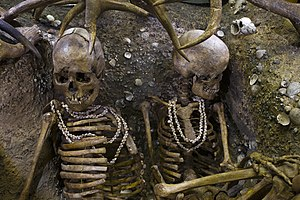 Shell jewelry - A Stone Age burial in Brittany dating from 5000-7000 BC shows the skeletons of two women who were buried wearing necklaces made of numerous shells of the sea snail Trivia.
