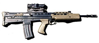 SA80 - The L85A1 GP rifle with a SUSAT scope attached to it
