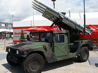 Humvee - A HMMWV equipped with Raytheon surface-to-air missiles, on display at the Paris Air Show in June 2007.