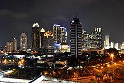 Sudirman Central Business District skyline at night