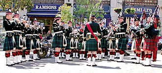 Scottish regiment - Members of the Highland Band of the Royal Regiment of Scotland performing at Gibraltar in 2013.