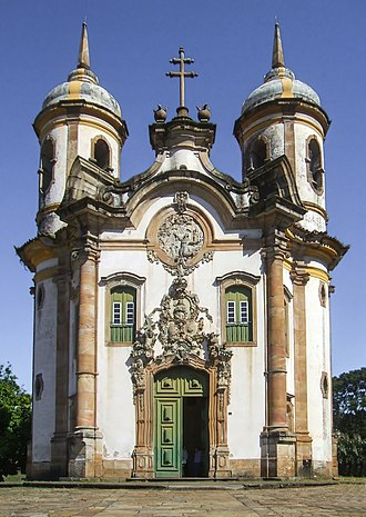 Aleijadinho - Church of the Third Order of St Francis in Ouro Preto. The façade is the work of Aleijadinho.