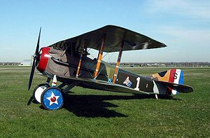 United States Army Air Service - SPAD S.XIII in livery of Capt. Eddie Rickenbacker, 94th Aero Squadron. Note U.S. national insignia painted on wheel hubs.