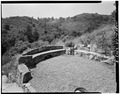 STONE SEATS IN GARDEN, HILLS IN BACKGROUND - Woodhills, Prospect Road, Cupertino, Santa Clara County, CA HABS CAL,43-CUP,1-8.tif