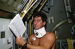 STS-55 Pilot Henricks with baroreflex collar.jpg