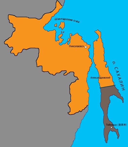 Территория Сахалинской области в 1914—1920 годах. Административный центр— Николаевск.