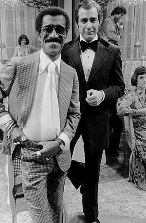 Jerry Lacy - Lacy as Rick Latimer on the set of Love of Life with guest star Sammy Davis, Jr., 1975