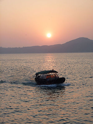 Sampan - Image: Sampan under sunset Hong Kong