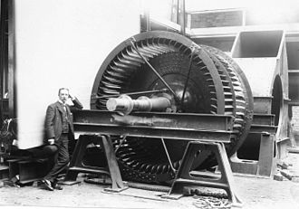 Samuel Cleland Davidson - Samuel Cleland Davidson with a huge centrifugal fan he designed and manufactured, probably for ventillating a mine shaft.