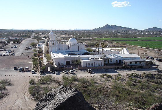 San Xavier del Bac Mission, as seen from the hill east of the complex SanXavierDelBacMission.jpg