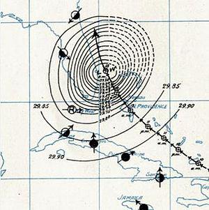 1899 Atlantic hurricane season - Image: San Ciriaco Hurricane SWA (1899)