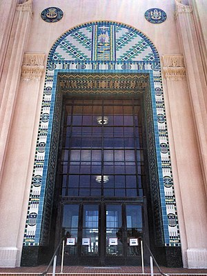 Louis John Gill - San Diego County Administration Building, detail of west entrance