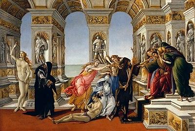 Σάντρο Μποτιτσέλι, Η Συκοφαντία του Απελλή, Τέμπερα, 62 × 91 εκ., Ουφίτσι, Φλωρεντία