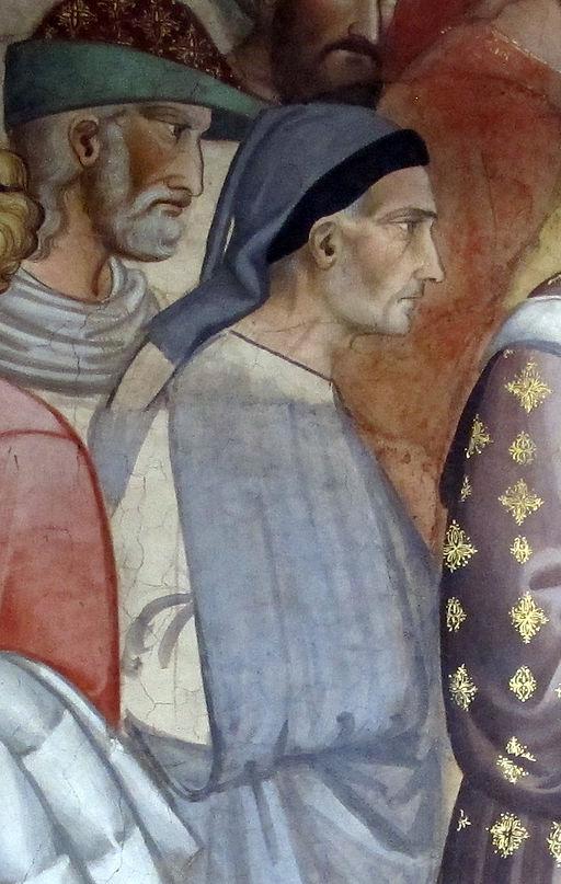 Santa croce, int., cappella maggiore, agnolo gaddi e bottega, affreschi 04 ritratto di taddeo gaddi