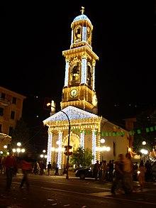 Il santuario di Nostra Signora del Suffragio illuminato per le festività patronali dell'8 settembre