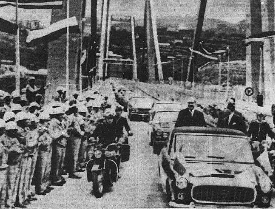 Saragat all'inaugurazione del Viadotto Polcevera 1967