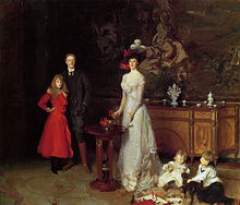 John Singer Sargent, The Sitwell Family, 1900. From left: Edith Sitwell (1887–1964), Sir George Sitwell, Lady Ida, Sacheverell Sitwell (1897–1988), and Osbert Sitwell (1892–1969)