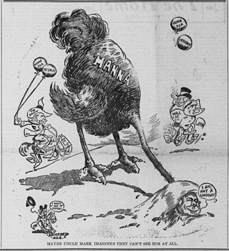 Mark Hanna - January 1904 political cartoon depicting Hanna hiding from presidential candidacy