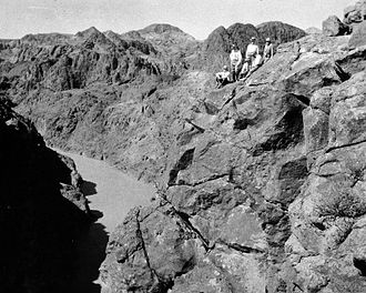 John L. Savage - Savage and other engineers observing the Black Canyon; future Hoover Dam site.