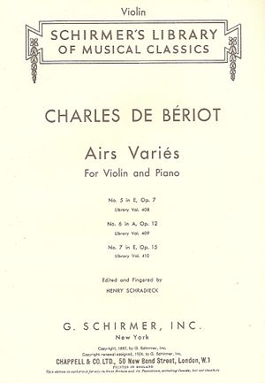 Chappell & Co. - The cover page of an edition of some of Bériot's works distributed by Chappell.