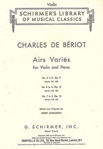 G. Schirmer, Inc. - Image: Schirmer cover page of Bériot's Airs Variés