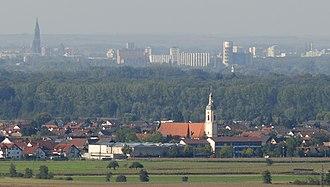 Strasbourg-Ortenau Eurodistrict - Looking across the Ortenau from Schutterwald to Strasbourg.
