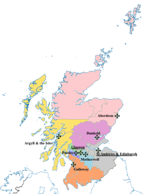 Bishops' Conference of Scotland - Map of dioceses in Scotland