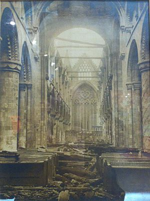 Selby Abbey - The Abbey after the fire of 1906