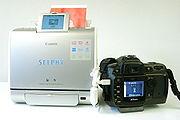Ein PictBridge-fähiger Drucker druckt direkt von der Kamera, mit der er über ein USB-Kabel verbunden ist. Obwohl Drucker und Kamera von verschiedenen Herstellern sind, können sie problemlos kommunizieren. Druckereinstellungen können direkt an der Kamera vorgenommen werden. Ein Computer wird nicht benötigt, und kompakte Drucker ermöglichen mobilen Einsatz.
