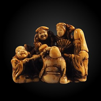 Seven Lucky Gods - Netsuke depicting the Seven Gods of Fortune, on display at Bern Historical Museum.