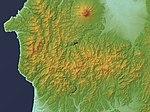 Shirakami Mountains Relief Map, SRTM-1.jpg