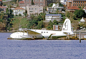 Ansett Australia - Short S.25 Sandringham of Ansett Flying Boat Services at Rose Bay Sydney in October 1970 when operating the schedule to Lord Howe Island