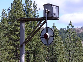 "Grade crossing signals - ""Wigwag"" signal photographed in 2007."