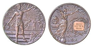 1904 Summer Olympics medal table - The silver medal awarded for the 800m run during the 1904 Summer Olympics