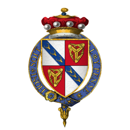 Arms of Sir John I Stanley of the Isle of Man KG (d. 1414), first Stanley King of Mann Sir John Stanley, Lord Lieut of Ireland, titular King of Man, KG.png