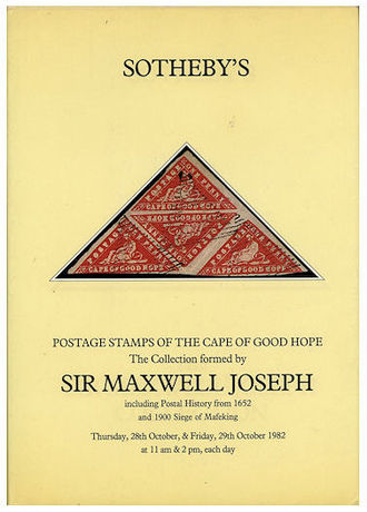 Maxwell Joseph - Auction catalogue for the sale of Joseph's collection of Cape of Good Hope stamps, Sotheby's, 1982.